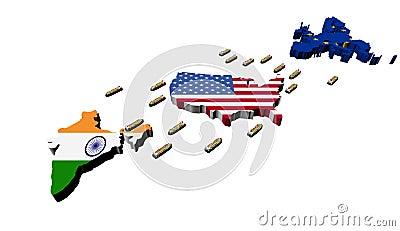 India USA EU trade with container ships
