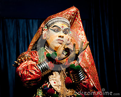 Indian actor performing tradititional Kathakali dance drama Editorial Photo