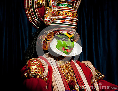Indian actor performing tradititional Kathakali dance drama Editorial Photography