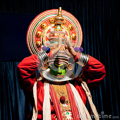 Indian actor performing tradititional Kathakali dance drama Editorial Image