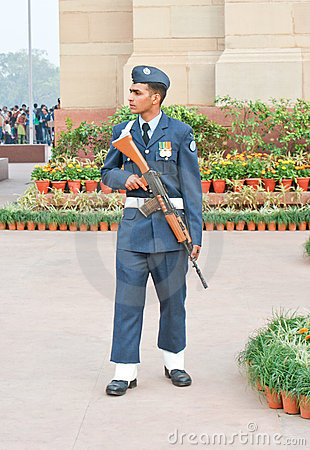 An Indian Air Force guard on duty. Editorial Stock Photo