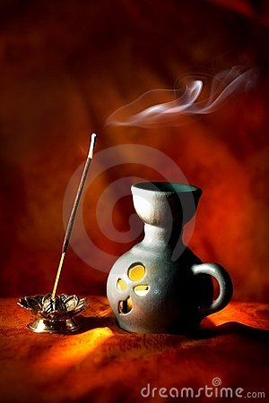 Free Indian Aroma Lamp With Incense Stick And Smoke Royalty Free Stock Photo - 7234955