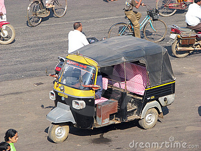 Indian auto rickshaw in Puri Editorial Stock Photo
