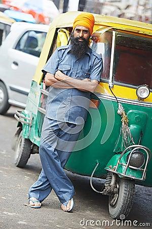 Indian auto rickshaw tut-tuk driver man