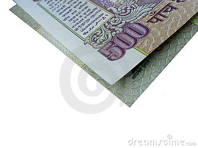 Indian Bank Note-INR 500 folded