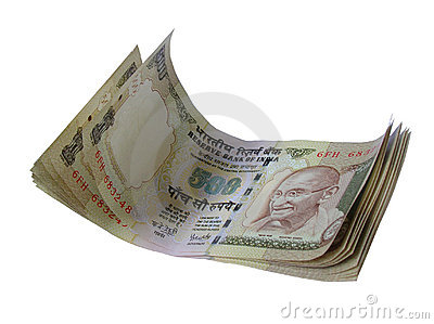 Indian Bank Note-INR 500 stacked