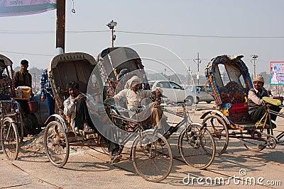 Indian bicycle rickshaws Editorial Stock Photo