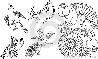 Indian birds and flower motif
