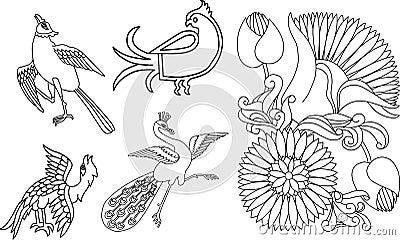 Indian birds and flower motif