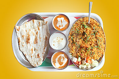 Indian biryani, butter naan with spicy curry