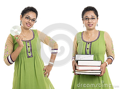 Indian with books and CD