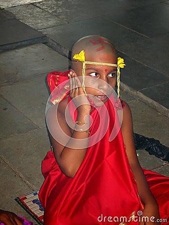 Indian boy chanting mantra