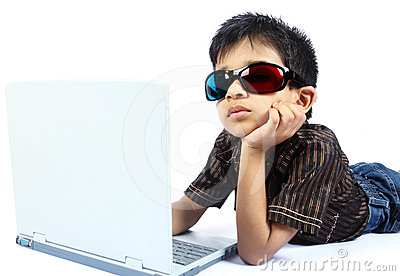 Indian boy using a laptop