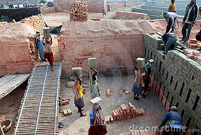 Indian Brick field Editorial Stock Image