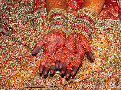 Indian bride s beautiful hand with henna tattoo