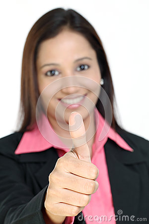 Indian business woman showing thumbs up