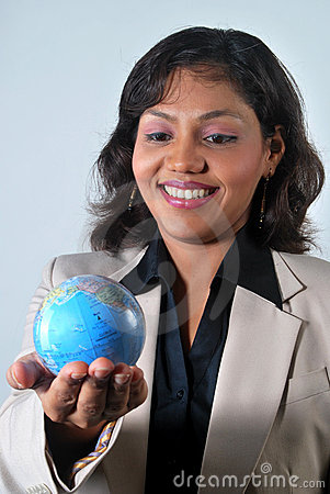 Indian Business woman with the world in her hands