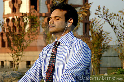 Indian Businessman meditating
