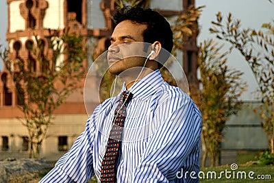 Indian Businessman meditating