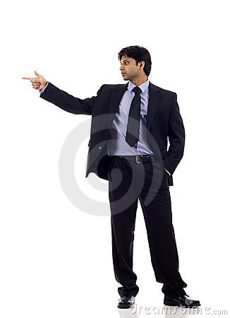 Indian Businessman Pointing