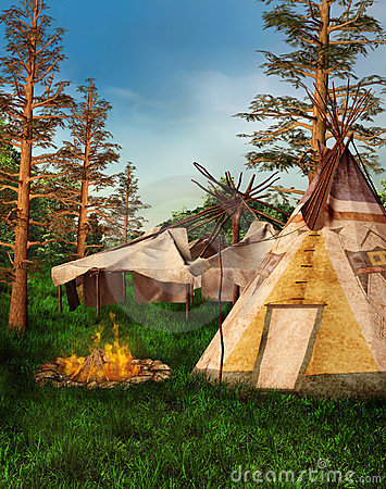 Indian camp in the forest
