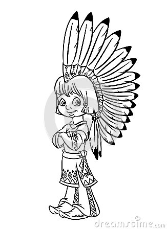indian chief boy national costume war bonnet illustration coloring pages isolated image