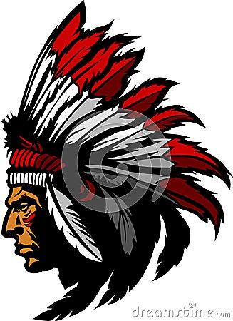 Indian Chief Mascot Vector Logo