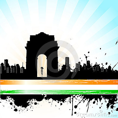 Indian City scape on Tricolor Background