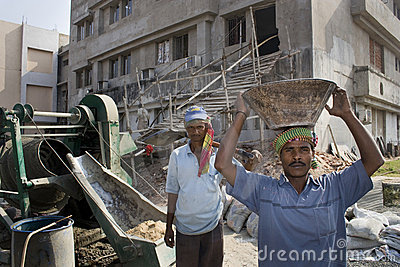 An Indian construction labor Editorial Photography