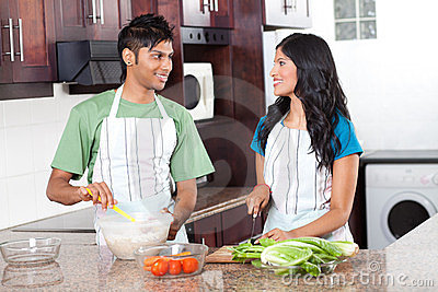 Indian couple cooking