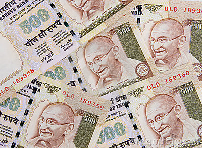 Indian Currency close up