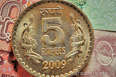 Indian Currency Coins of denomination Rs.5