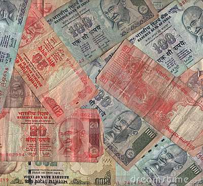 Indian currency collage