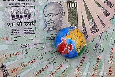 Indian Currency Rupees with a Globe