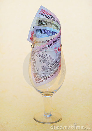 Indian Currency in Wineglass