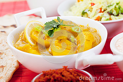 Indian curry with ginger and potato