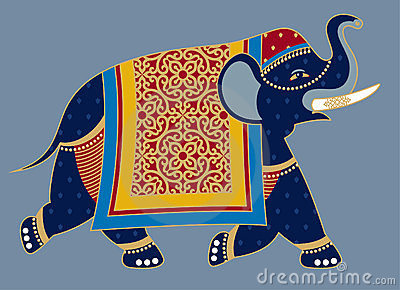 Indian Decorated Elephant Illustration