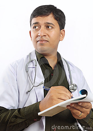 Indian Doctor Writing Prescription