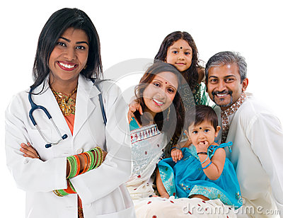 Indian female medical doctor and patient family.