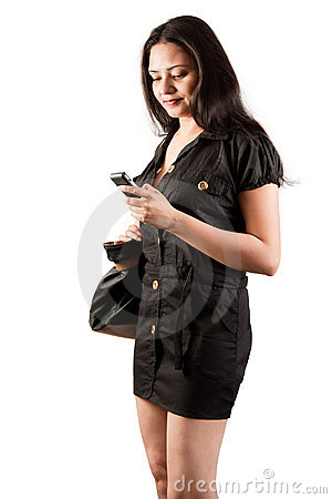 Indian female model using mobile