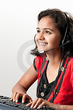 Indian female Smiling Customer Representative