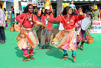 Indian Festival Dancers Editorial Stock Photo