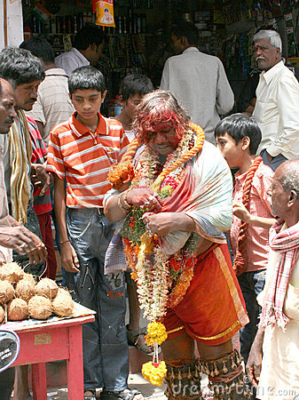 Indian Festivals-Bonalu-Potharaju blessing People Editorial Stock Photo