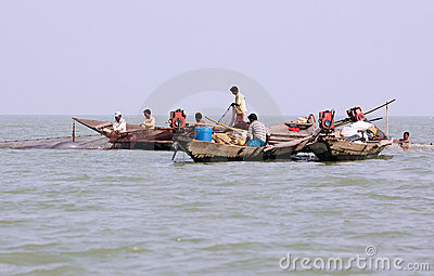Indian fisherman on the Chilika lake Editorial Photography