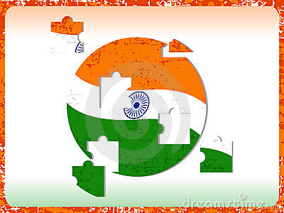 Indian Flag with puzzle on grunge.