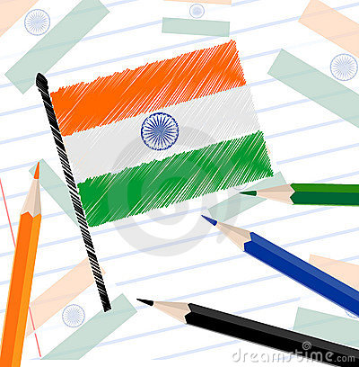 Indian flag sketch on note book paper.