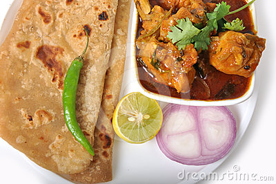Indian Food - Chapati & Chicken
