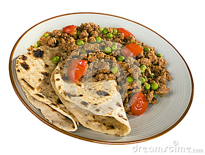 Indian Food Keema and Chapatis
