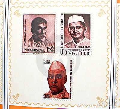 Indian freedom fighters commemorated in stamps. Editorial Stock Image