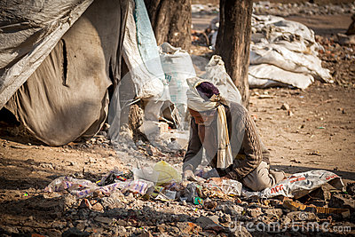 Indian garbage collector man Editorial Photography
